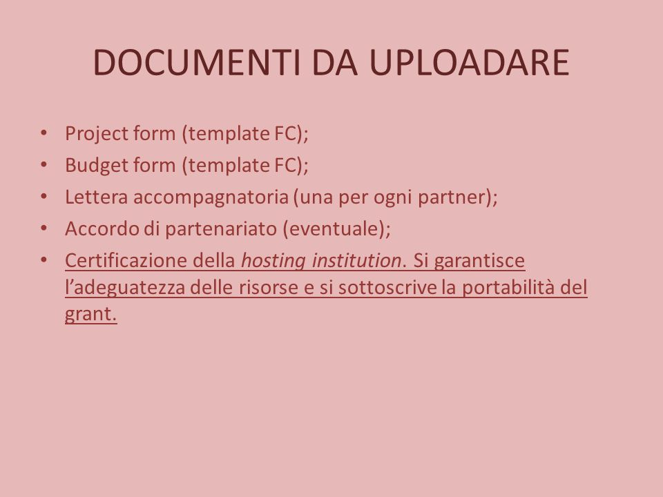 DOCUMENTI DA UPLOADARE