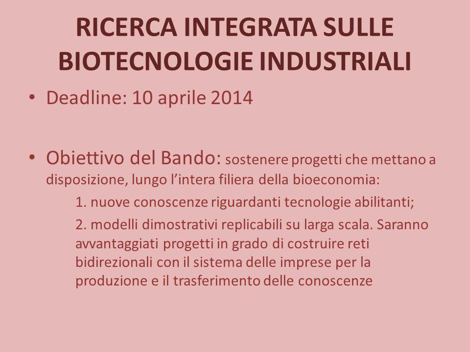 RICERCA INTEGRATA SULLE BIOTECNOLOGIE INDUSTRIALI