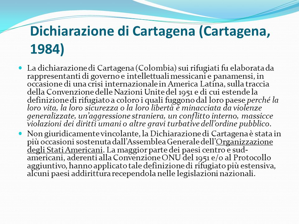 Dichiarazione di Cartagena (Cartagena, 1984)