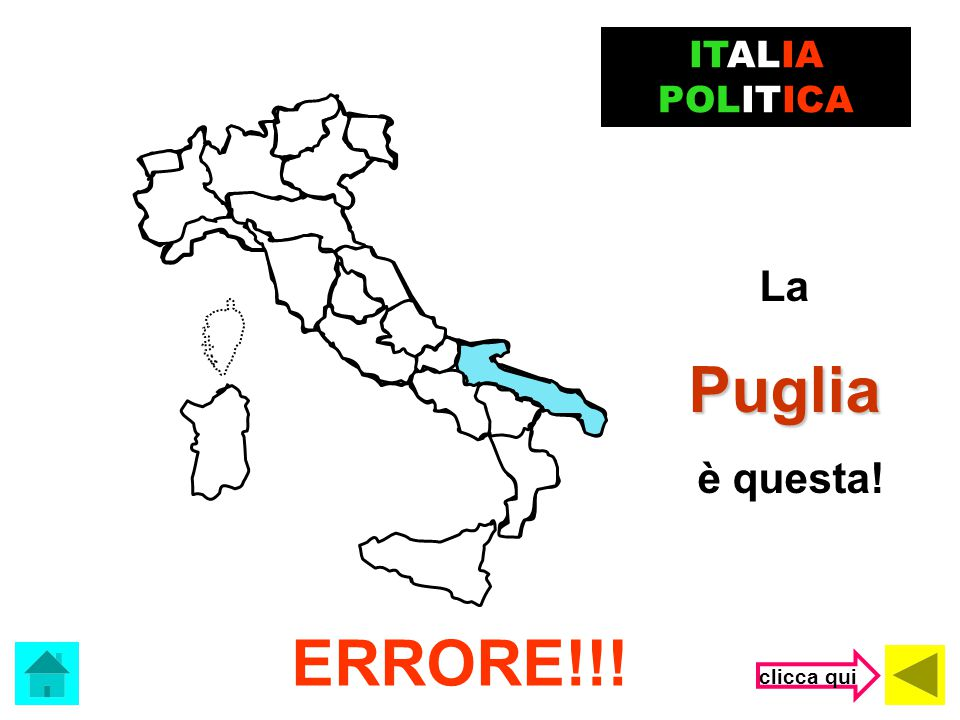 ITALIA POLITICA La Puglia è questa! ERRORE!!! clicca qui
