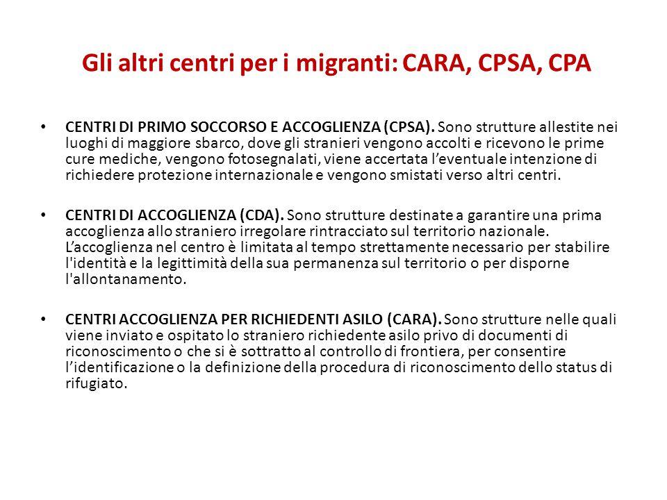 Gli altri centri per i migranti: CARA, CPSA, CPA