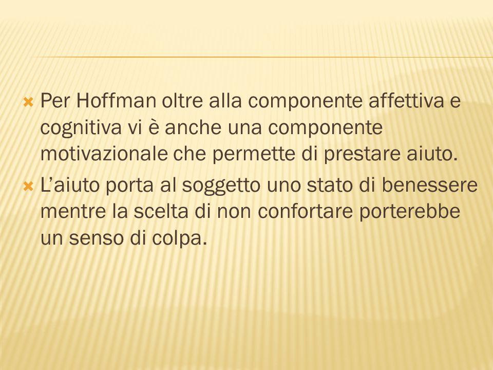 Per Hoffman oltre alla componente affettiva e cognitiva vi è anche una componente motivazionale che permette di prestare aiuto.