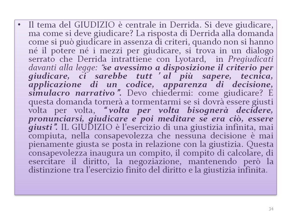 Il tema del GIUDIZIO è centrale in Derrida