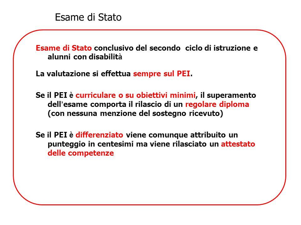 Esame di Stato Esame di Stato conclusivo del secondo ciclo di istruzione e alunni con disabilità. La valutazione si effettua sempre sul PEI.