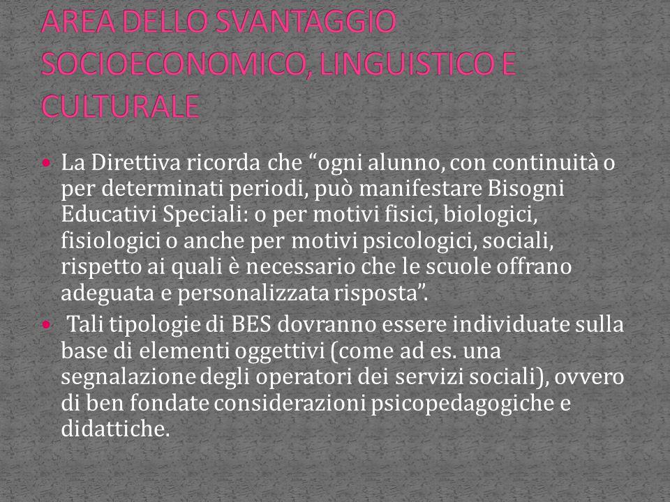 AREA DELLO SVANTAGGIO SOCIOECONOMICO, LINGUISTICO E CULTURALE