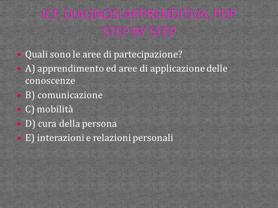 ICF, DIAGNOSI APPRENDITIVA, PDP STEP BY STEP