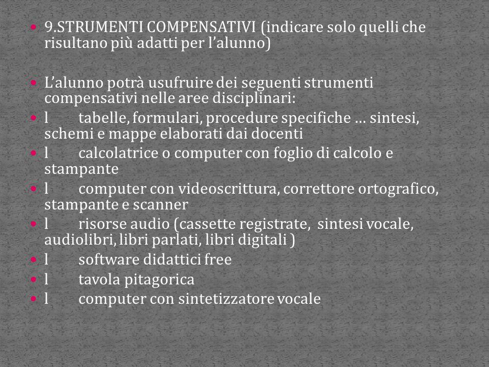 9.STRUMENTI COMPENSATIVI (indicare solo quelli che risultano più adatti per l'alunno)