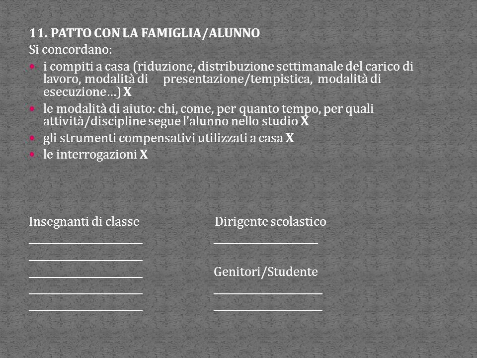 11. PATTO CON LA FAMIGLIA/ALUNNO