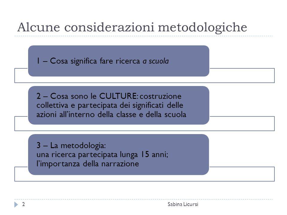Alcune considerazioni metodologiche