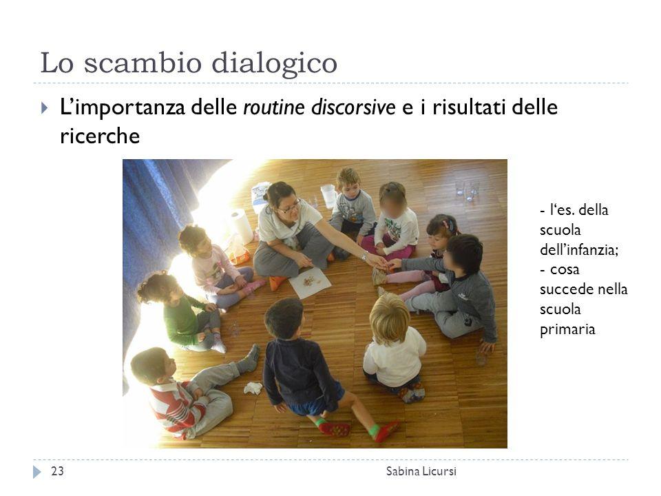 Lo scambio dialogico L'importanza delle routine discorsive e i risultati delle ricerche. l'es. della scuola dell'infanzia;
