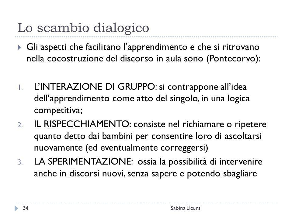 Lo scambio dialogico Gli aspetti che facilitano l'apprendimento e che si ritrovano nella cocostruzione del discorso in aula sono (Pontecorvo):