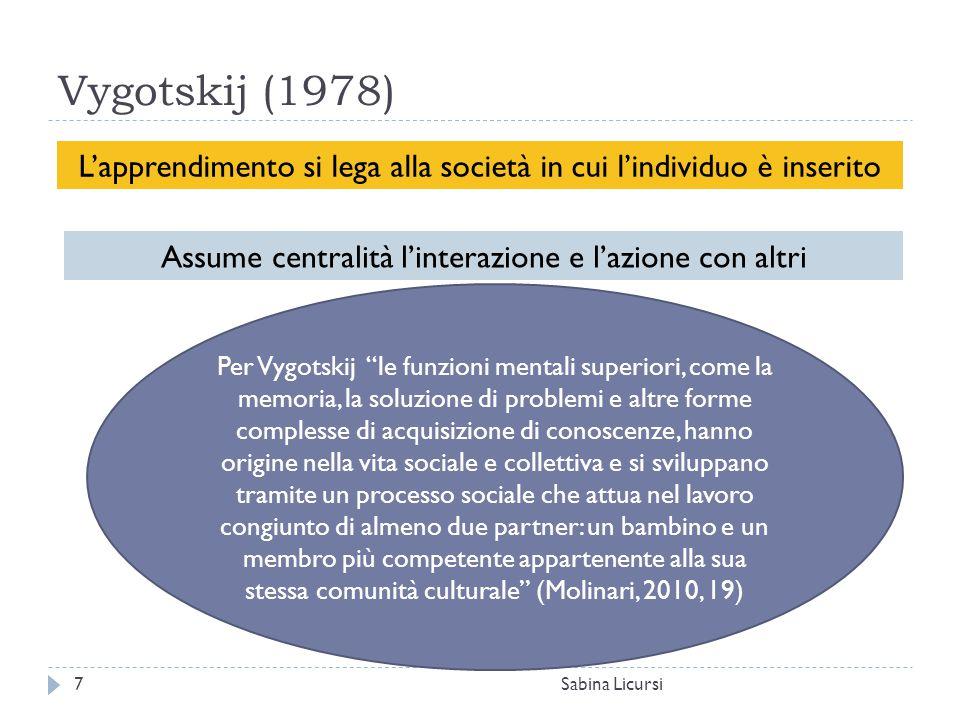 Vygotskij (1978) L'apprendimento si lega alla società in cui l'individuo è inserito. Assume centralità l'interazione e l'azione con altri.