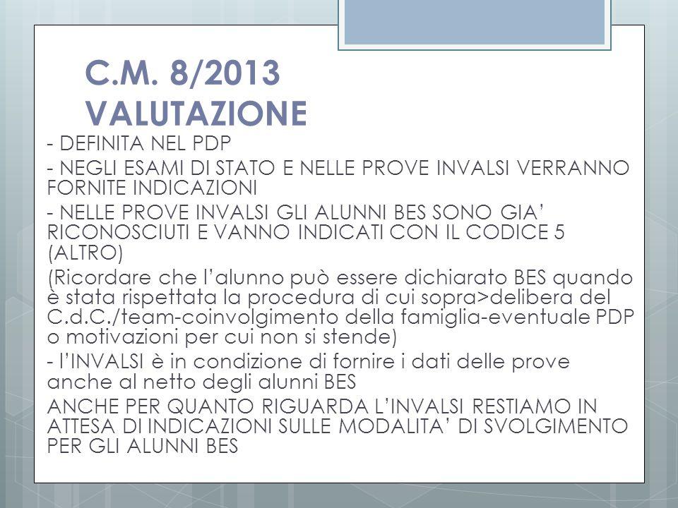 C.M. 8/2013 VALUTAZIONE