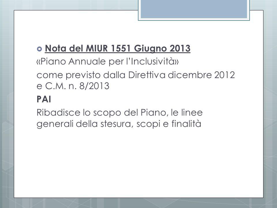 Nota del MIUR 1551 Giugno 2013 «Piano Annuale per l'Inclusività» come previsto dalla Direttiva dicembre 2012 e C.M. n. 8/2013.
