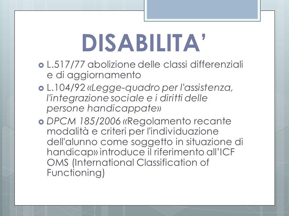 DISABILITA' L.517/77 abolizione delle classi differenziali e di aggiornamento.