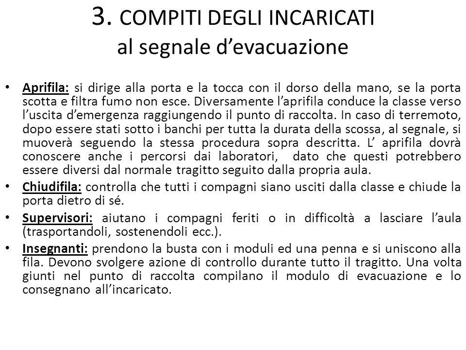 3. COMPITI DEGLI INCARICATI al segnale d'evacuazione