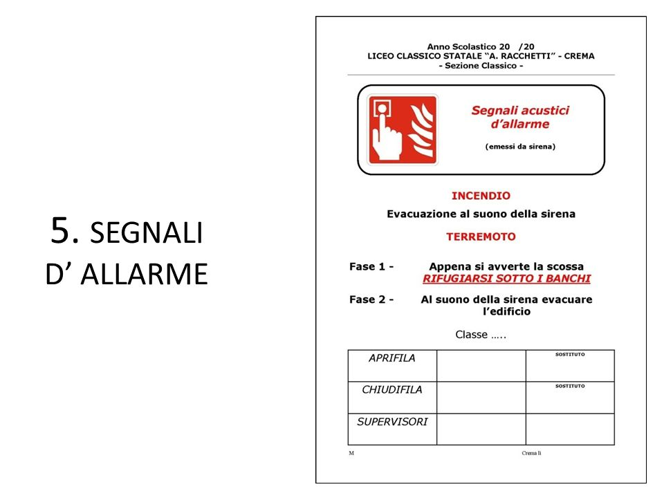 5. SEGNALI D' ALLARME