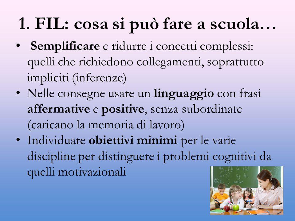 1. FIL: cosa si può fare a scuola…