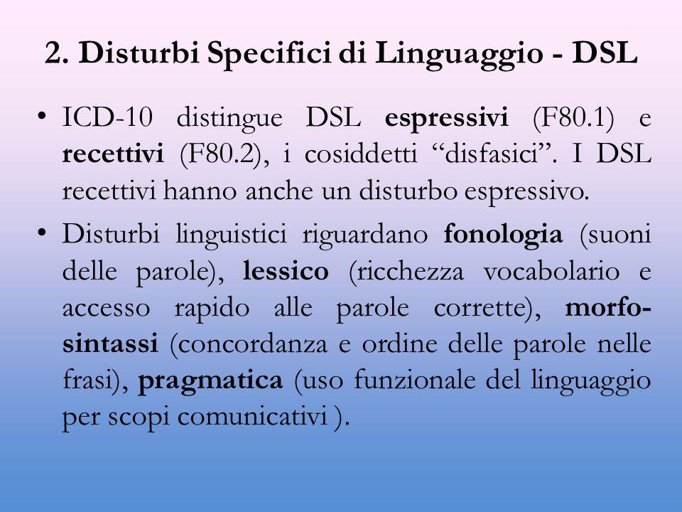 2. Disturbi Specifici di Linguaggio - DSL