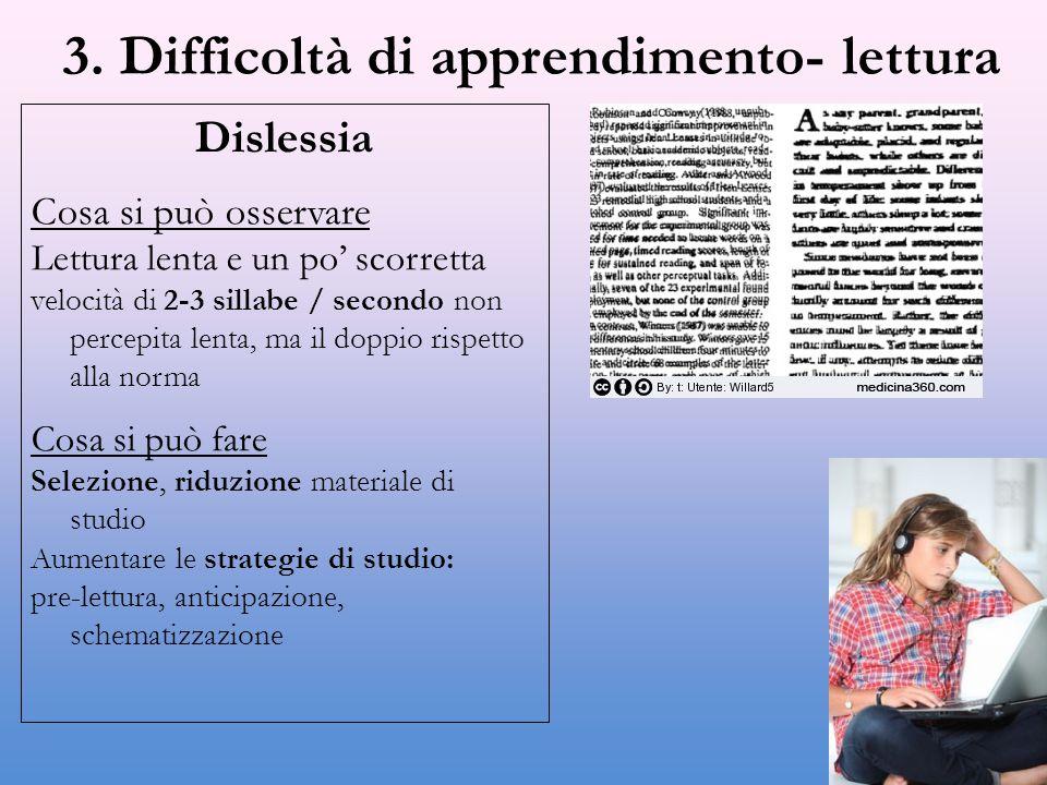 3. Difficoltà di apprendimento- lettura