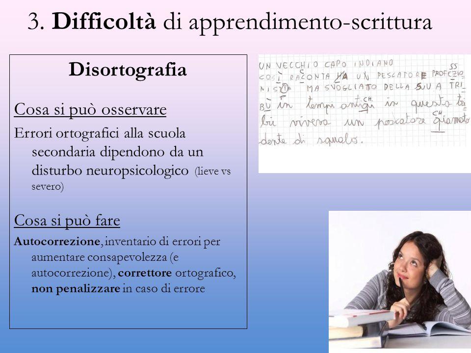 3. Difficoltà di apprendimento-scrittura