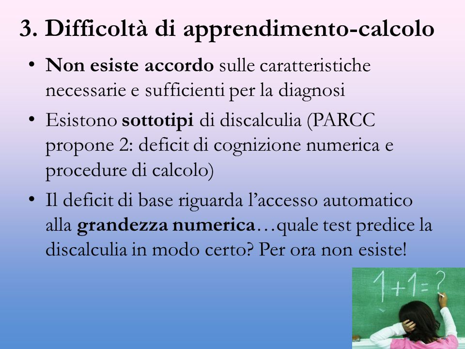3. Difficoltà di apprendimento-calcolo