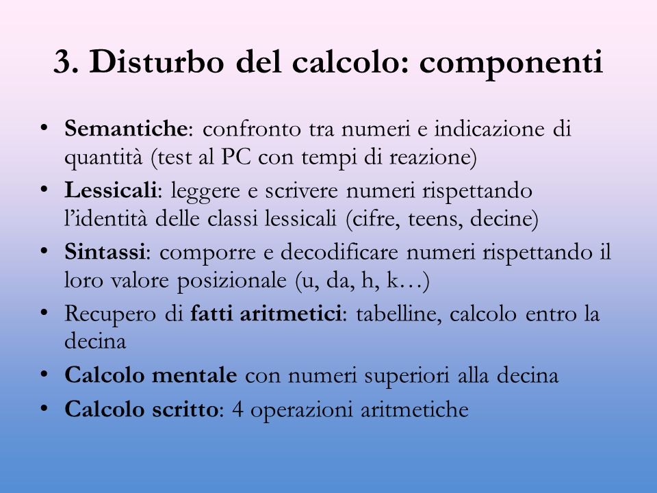 3. Disturbo del calcolo: componenti
