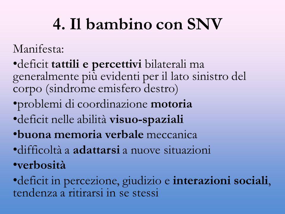 4. Il bambino con SNV Manifesta: