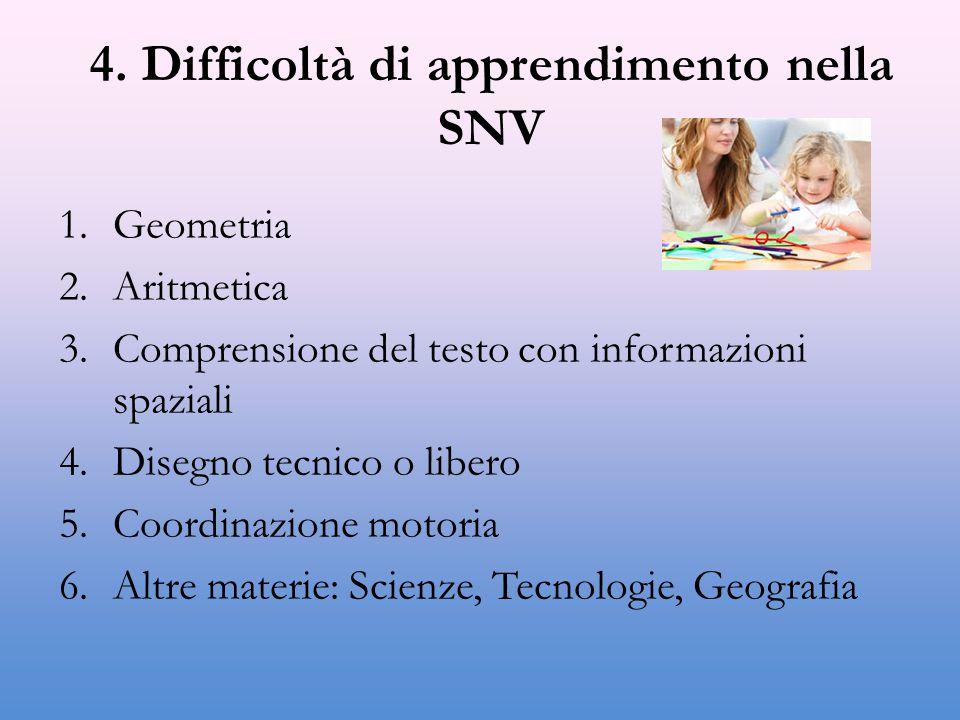 4. Difficoltà di apprendimento nella SNV