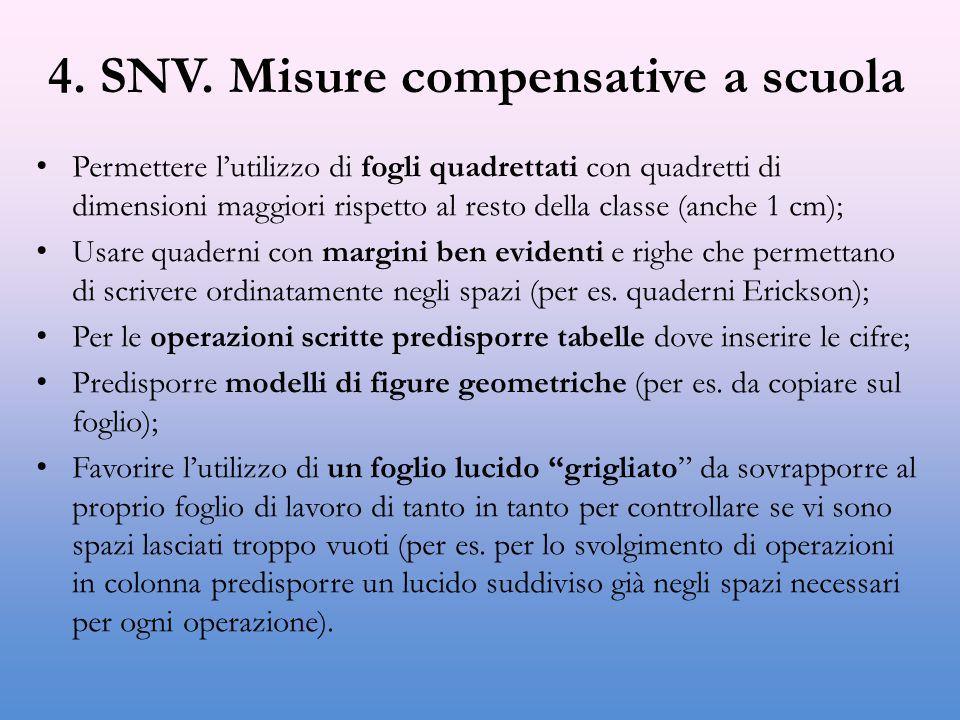 4. SNV. Misure compensative a scuola