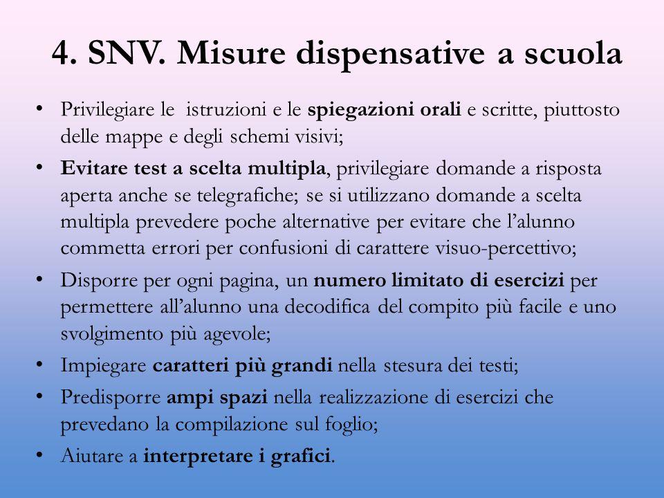 4. SNV. Misure dispensative a scuola