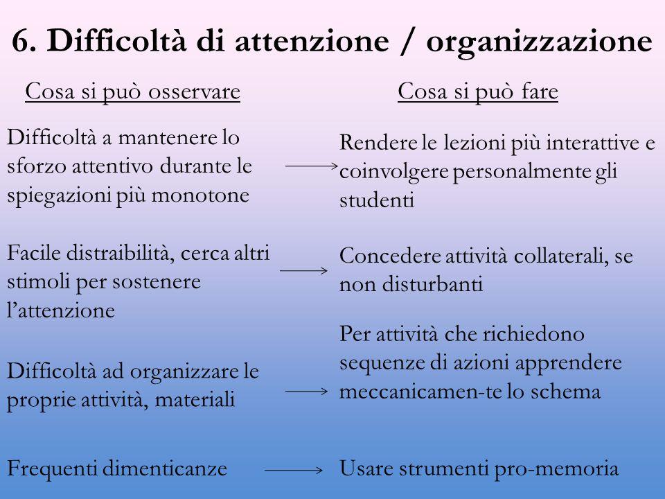 6. Difficoltà di attenzione / organizzazione