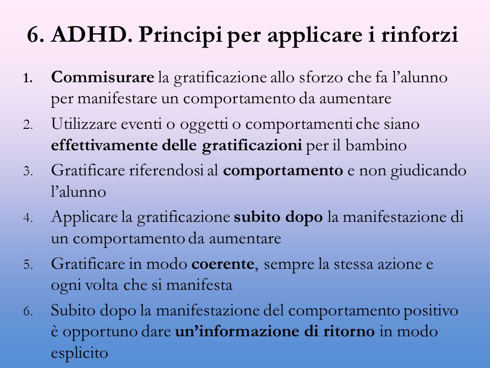 6. ADHD. Principi per applicare i rinforzi