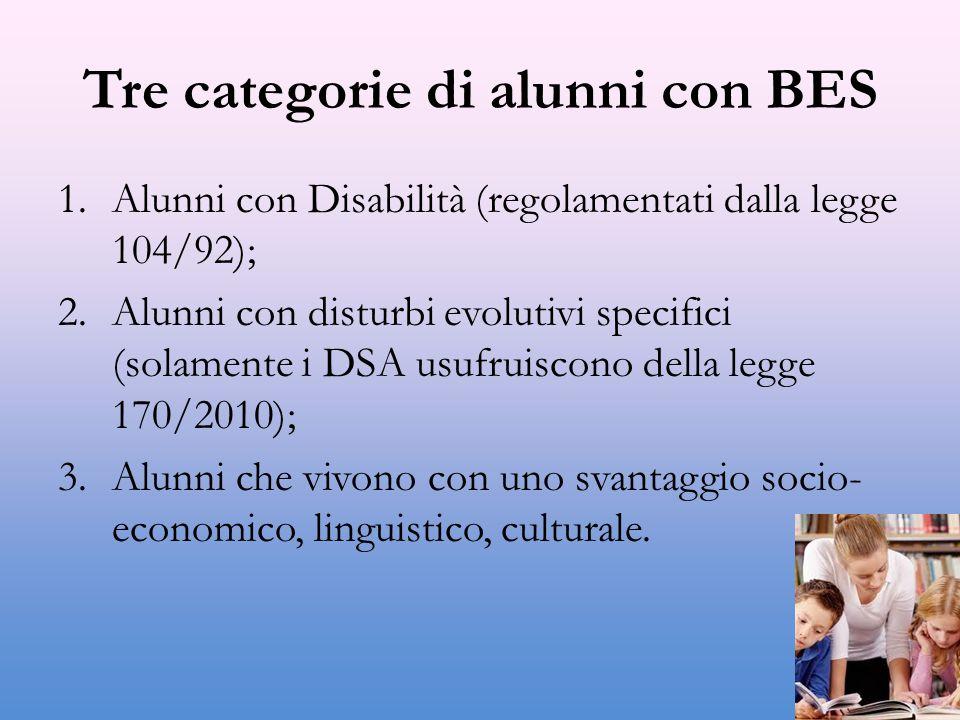 Tre categorie di alunni con BES