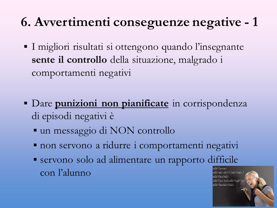 6. Avvertimenti conseguenze negative - 1
