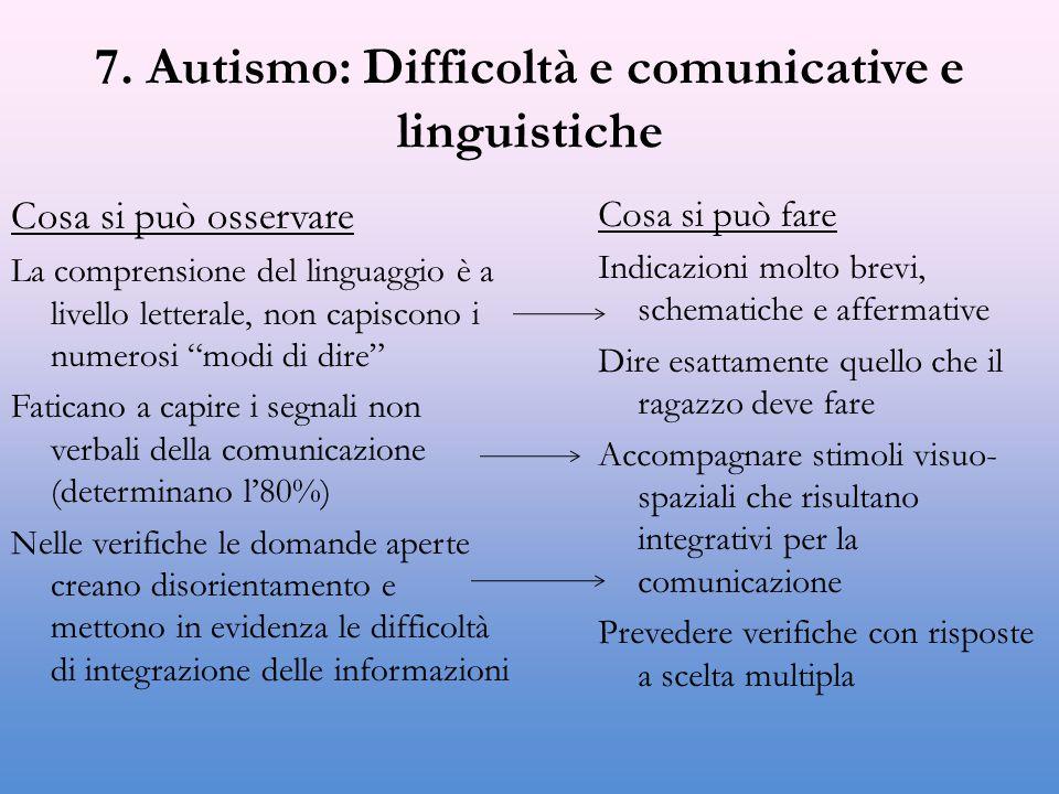 7. Autismo: Difficoltà e comunicative e linguistiche