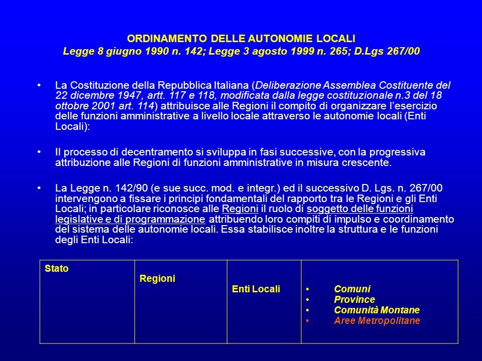ORDINAMENTO DELLE AUTONOMIE LOCALI Legge 8 giugno 1990 n