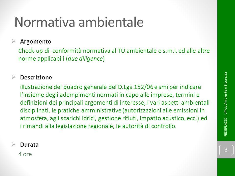 Normativa ambientale Argomento