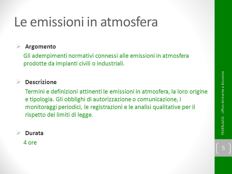 Le emissioni in atmosfera