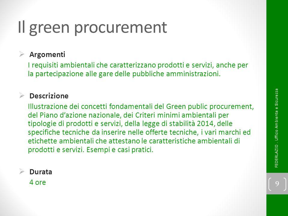 Il green procurement Argomenti