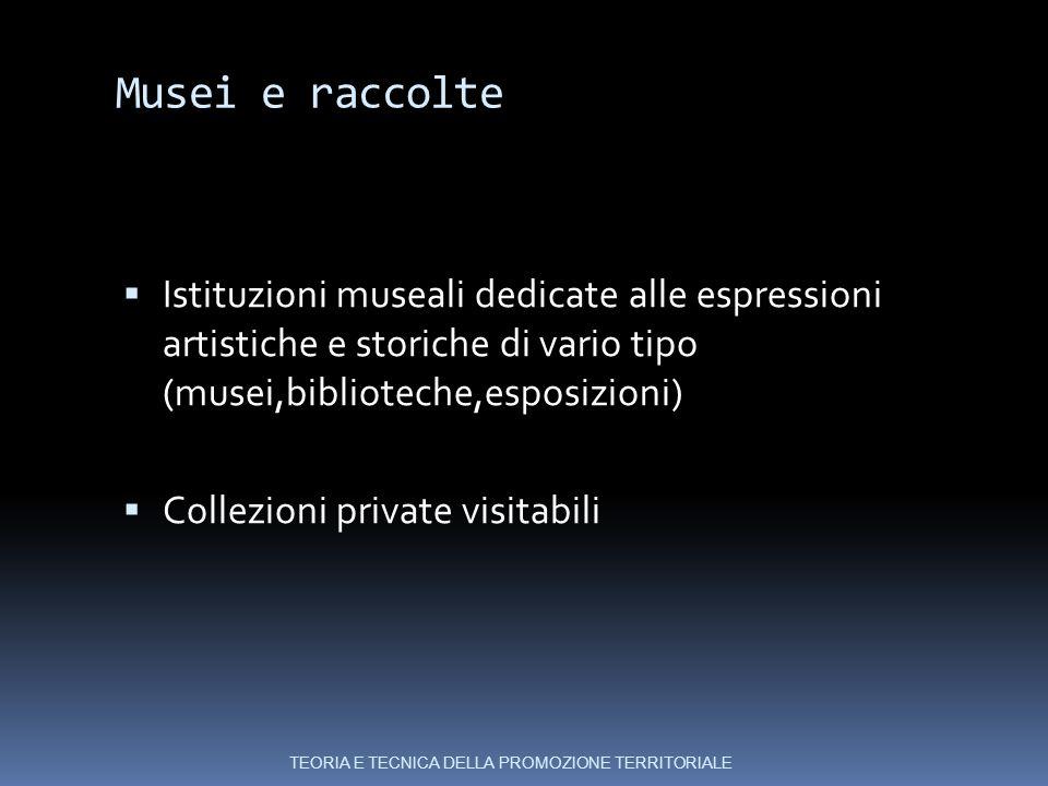 Musei e raccolte Istituzioni museali dedicate alle espressioni artistiche e storiche di vario tipo (musei,biblioteche,esposizioni)