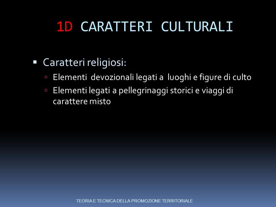1D CARATTERI CULTURALI Caratteri religiosi: