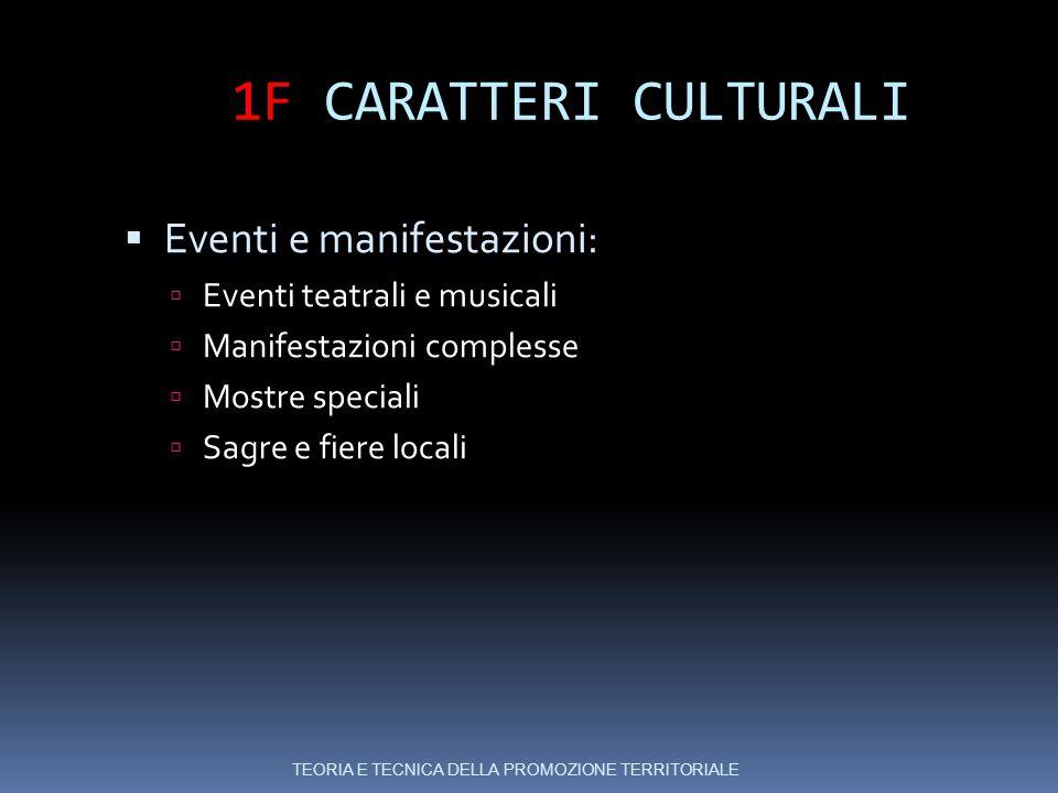 1F CARATTERI CULTURALI Eventi e manifestazioni: