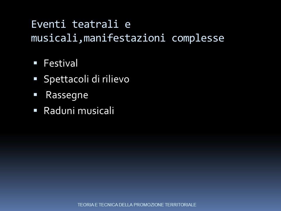 Eventi teatrali e musicali,manifestazioni complesse