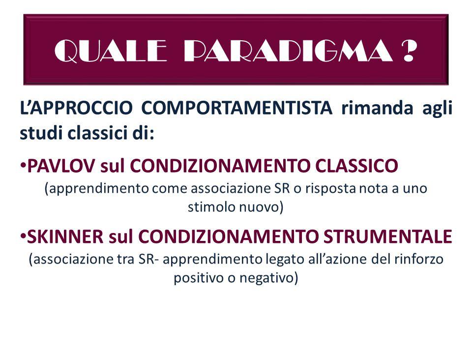 QUALE PARADIGMA L'APPROCCIO COMPORTAMENTISTA rimanda agli studi classici di: PAVLOV sul CONDIZIONAMENTO CLASSICO.