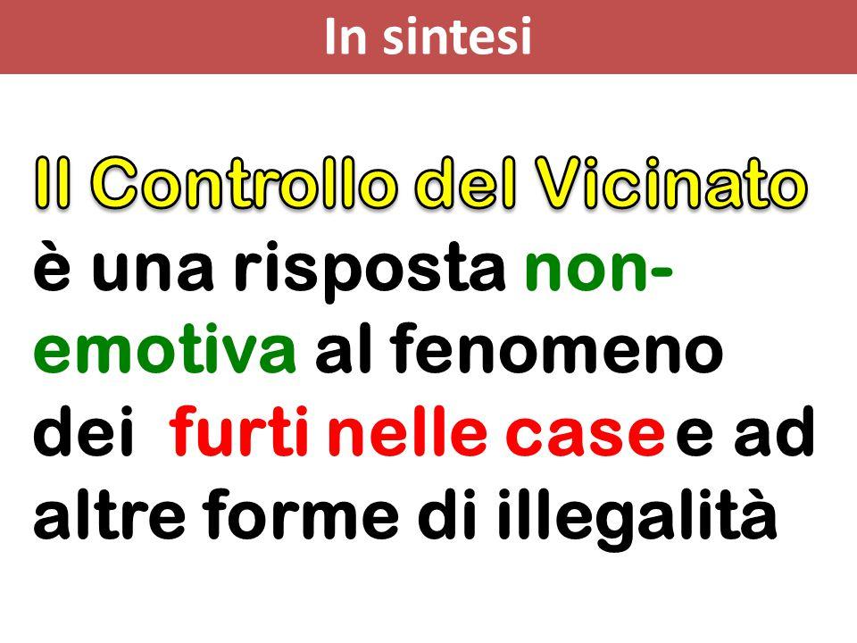 In sintesi Il Controllo del Vicinato è una risposta non-emotiva al fenomeno dei furti nelle case e ad altre forme di illegalità.
