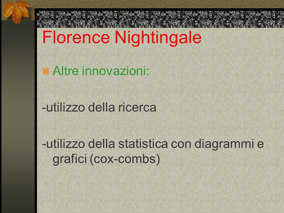 Florence Nightingale Altre innovazioni: -utilizzo della ricerca