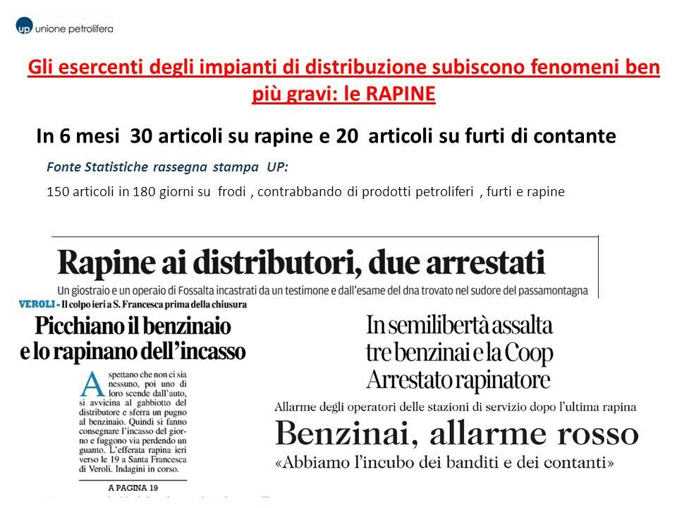 In 6 mesi 30 articoli su rapine e 20 articoli su furti di contante