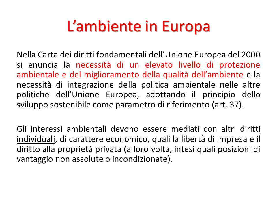 L'ambiente in Europa