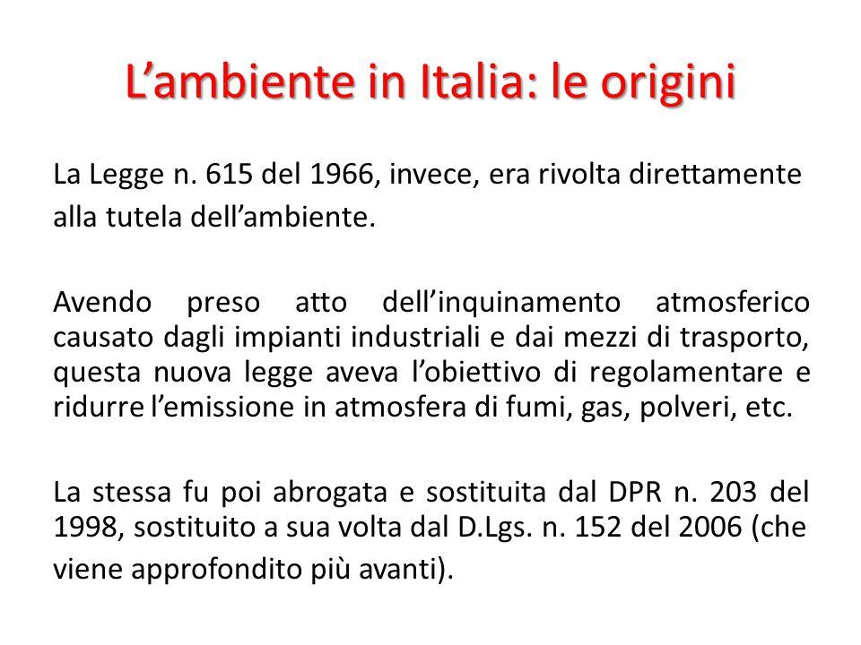 L'ambiente in Italia: le origini